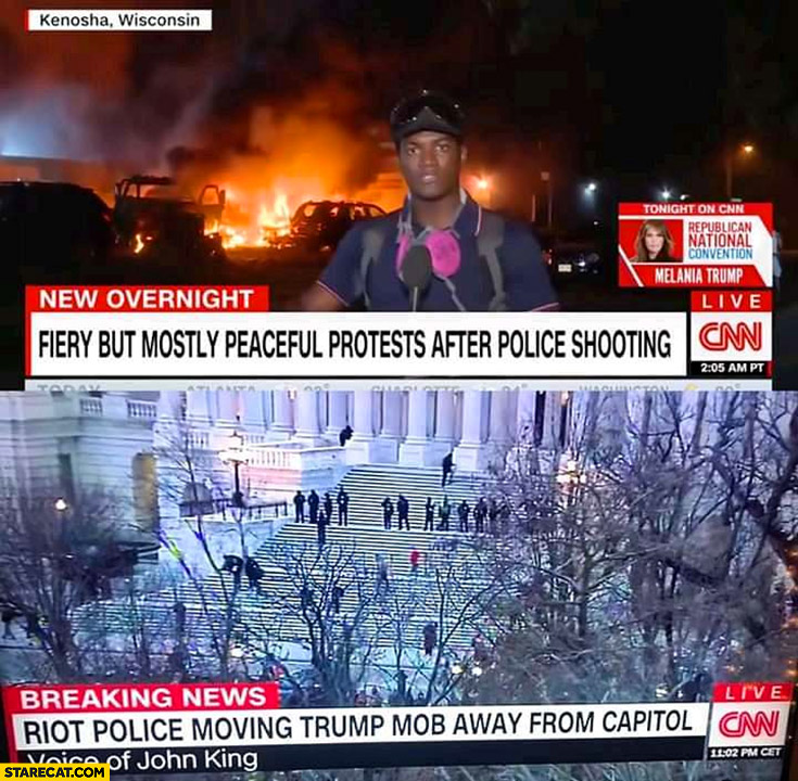 CNN reporting black lives matter riots vs Trump supporters capitol invasion comparison