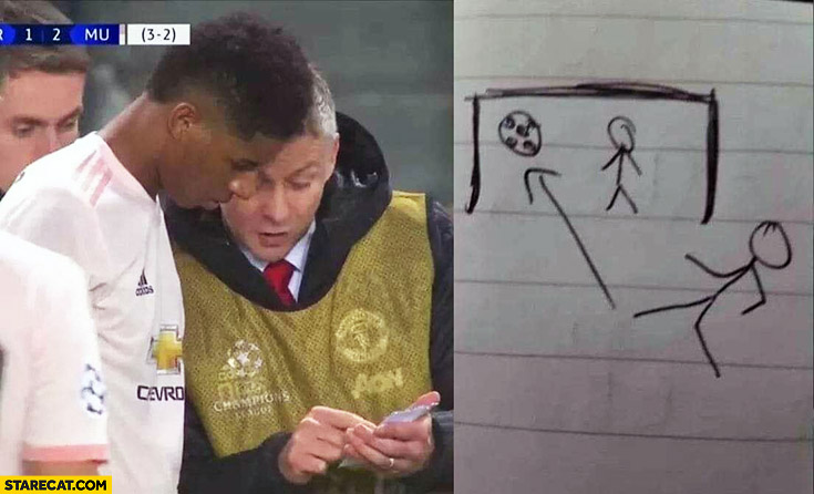 Coach showing a footballer tactics on paper simply silly drawing goal