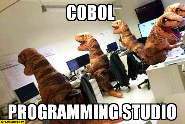 Cobol programming studio dinosaurs T-Rex