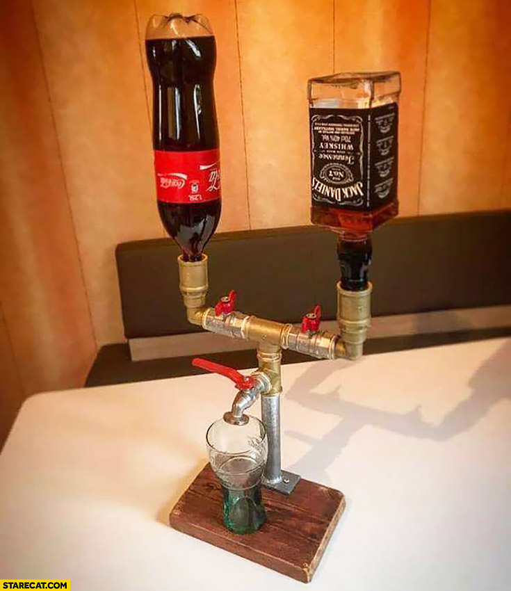Coca Cola mixed with Jack Daniels creative solution
