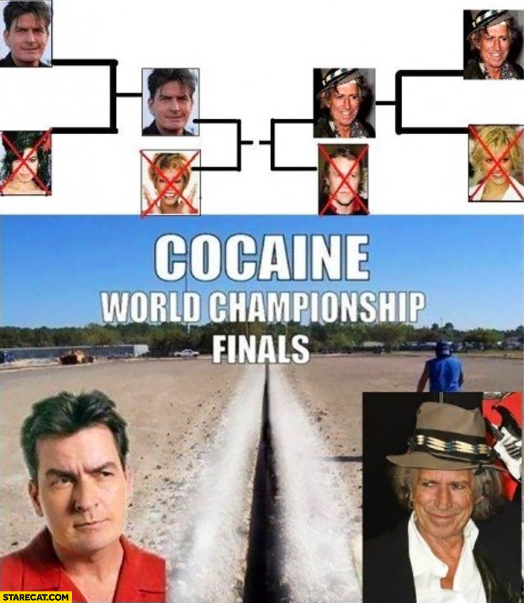 Cocaine world championship finals: Charlie Sheen vs Keith Richards