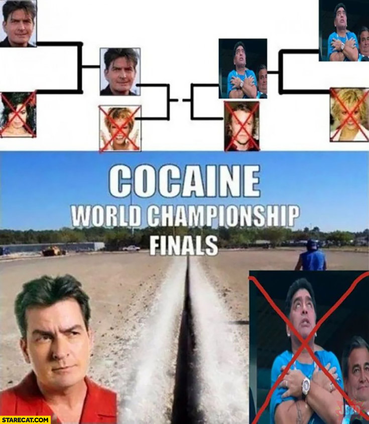 Cocaine world championship finals Charlie Sheen won after Maradona passed away