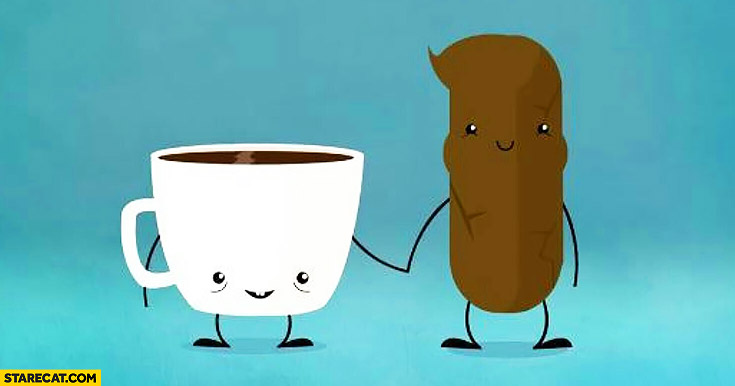 Coffee and poo best friends forever holding hands