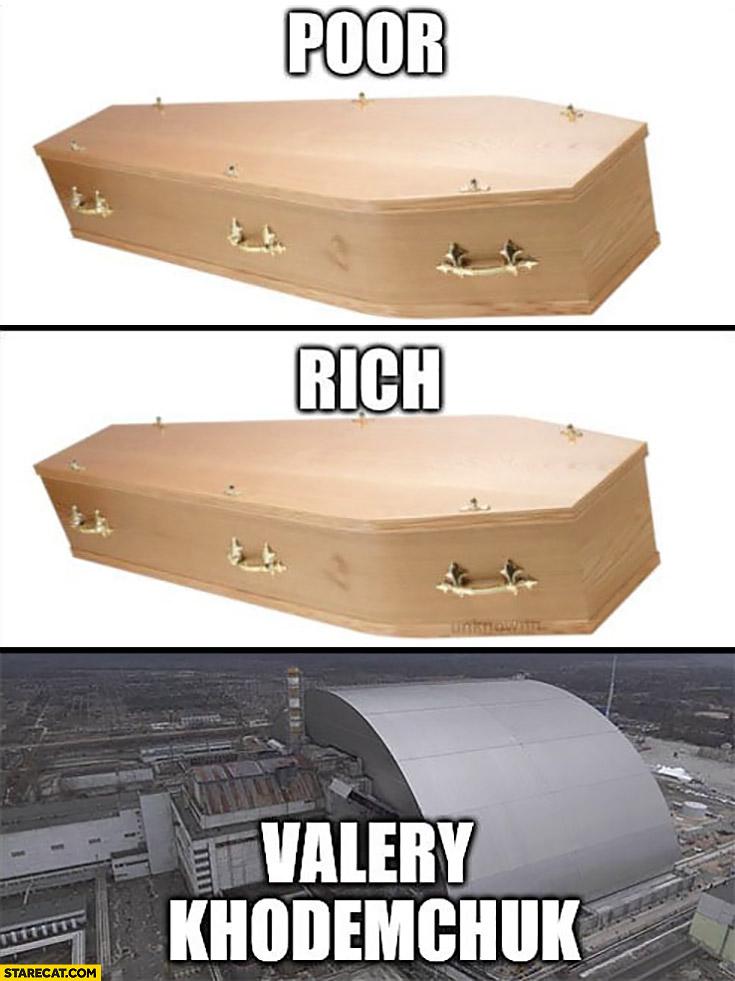Coffin poor rich Valery Khodemchuk Chernobyl sarcophagus