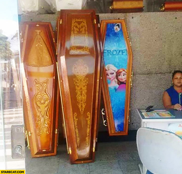 Coffins shop Elsa Frozen cartoon coffin