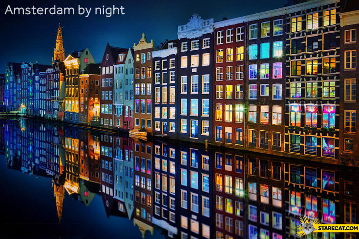 Colorful Amsterdam by night