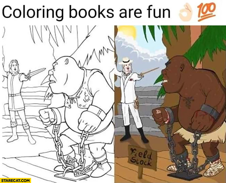 Coloring books are fun black man instead of shrek