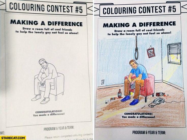 Colouring contest: making a difference, draw room full of friends to help lonely guy not feel so alone trolling