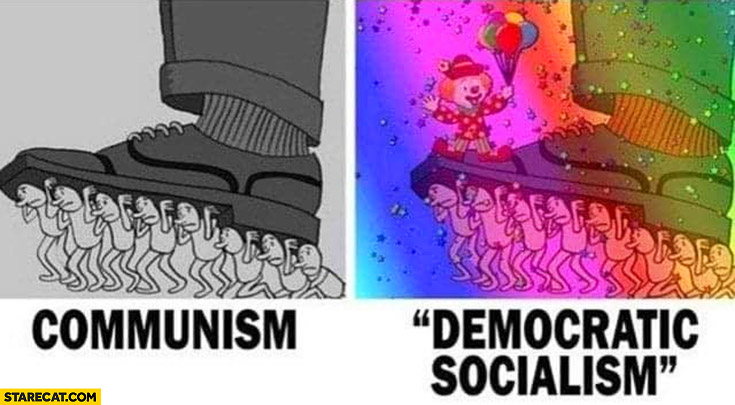 Communism vs democratic socialism drawing comparison colorful rainbow