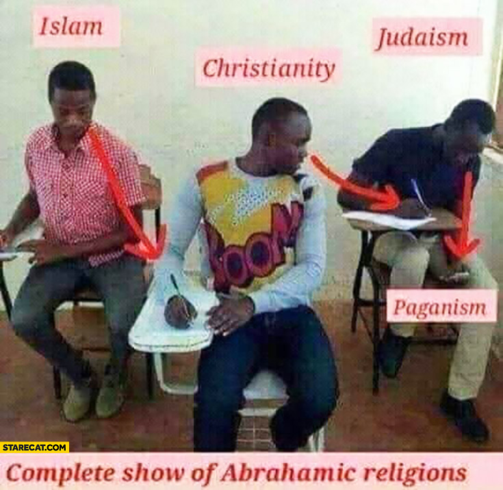 Complete show of abrahamic religions islam, christianity, judaism, paganism copying from each other on exam