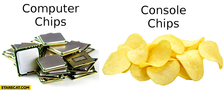 Computer chips processors console chips snacks