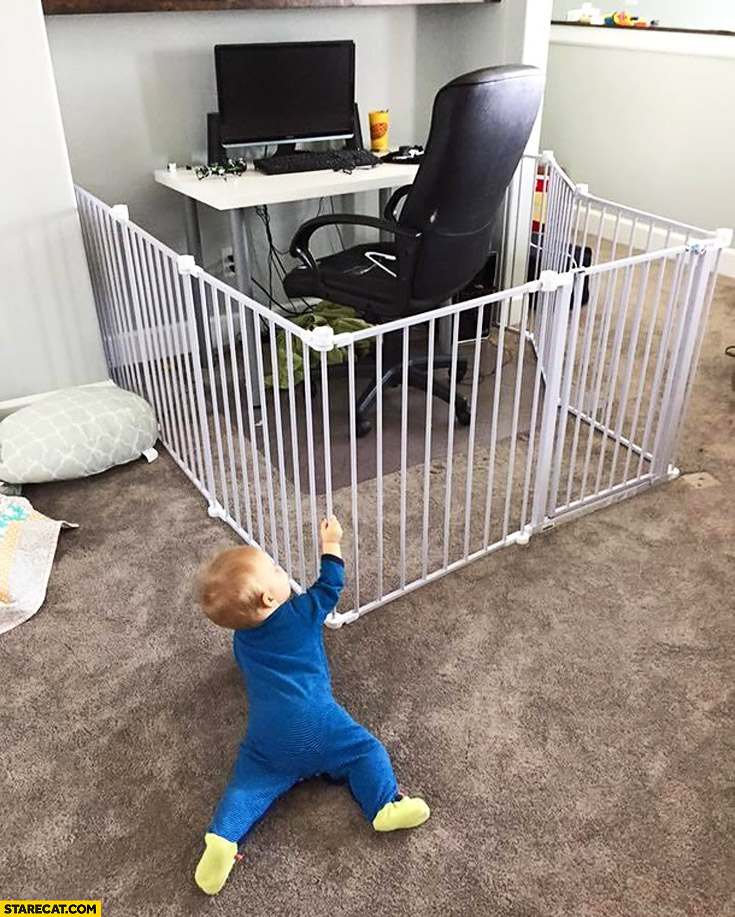 Computer workspace when you have a baby