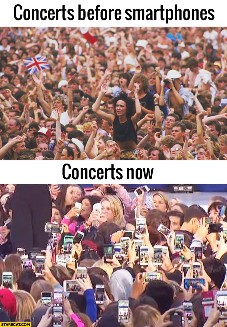 Concerts before smartphones, concerts now: everyone recording & taking pictures
