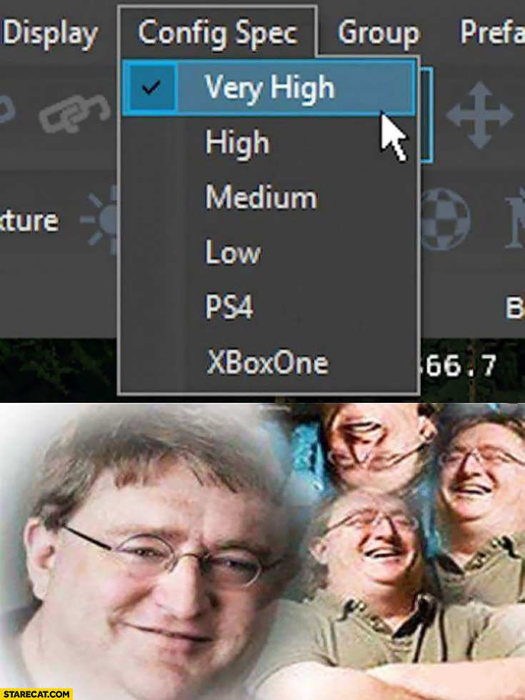 Config spec: very high, high, medium, low, PS4, xBoxOne Gabe Newell