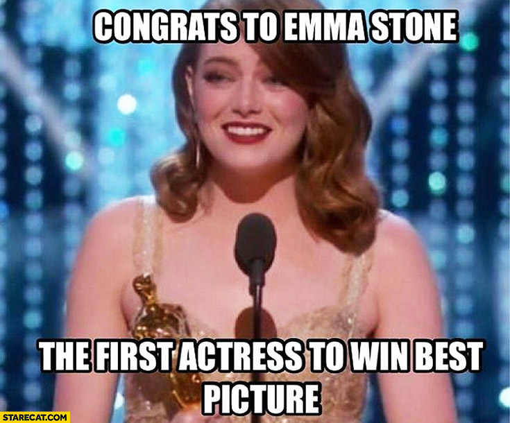 Congrats to Emma Stone the first actress to win best picture Oscars fail