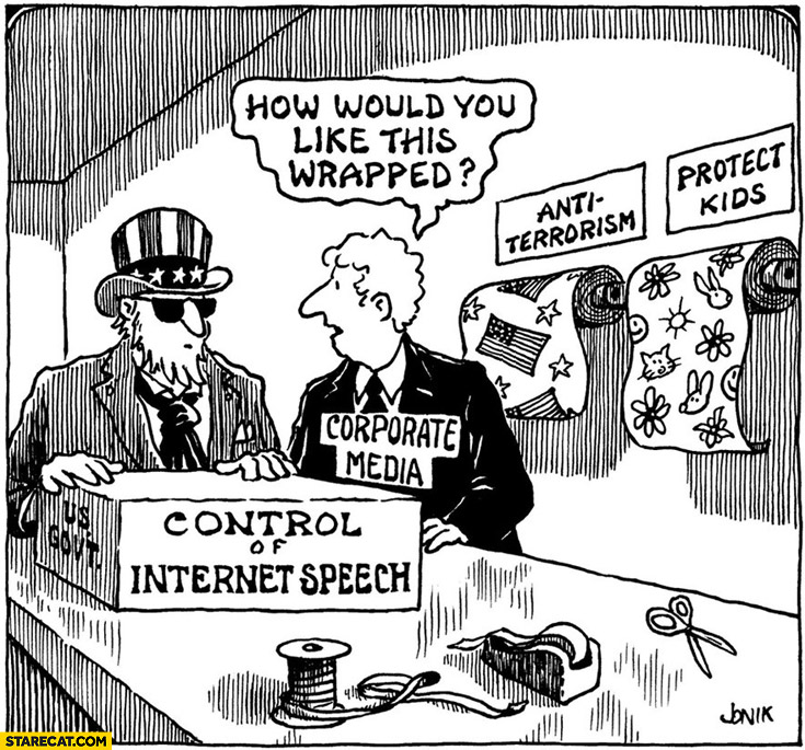 Control of internet speech how would you like this wrapped anti-terrorism protect kids