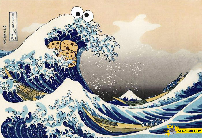 Cookie monster wave drawing