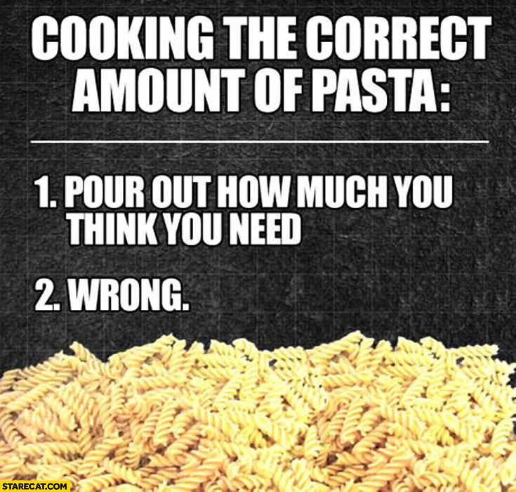 Cooking the correct amount of pasta pour out how much you think you need wrong