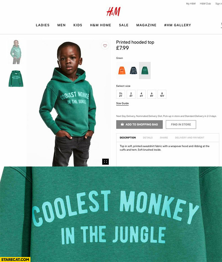 Coolest monkey in the jungle hoody H&M black boy wearing green printed hooded top