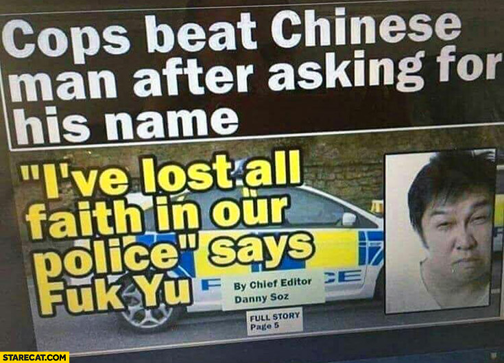 Cops beat Chinese man after asking for his name I've lost all faith in our police says fuk yu