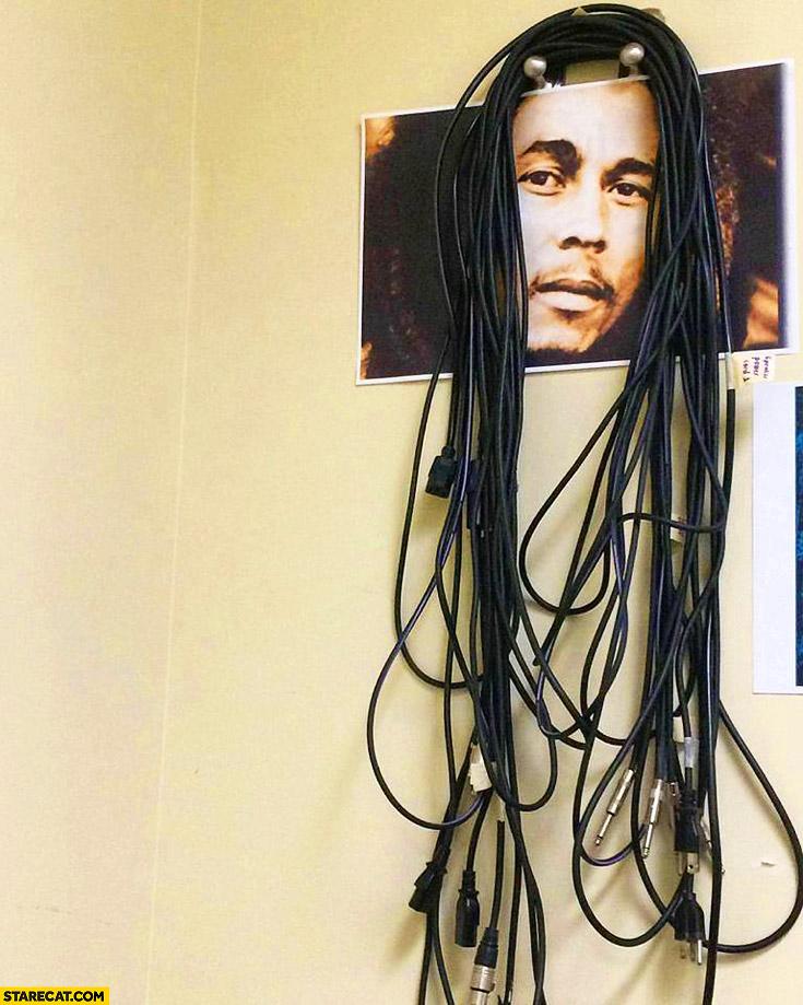 Cord cables hanger Bob Marley hair