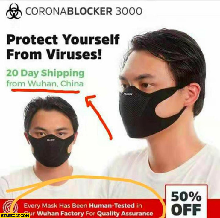 Corona virus blocker mask shipped from Wuhan, China. Every mask human tested in Wuhan factory for quality