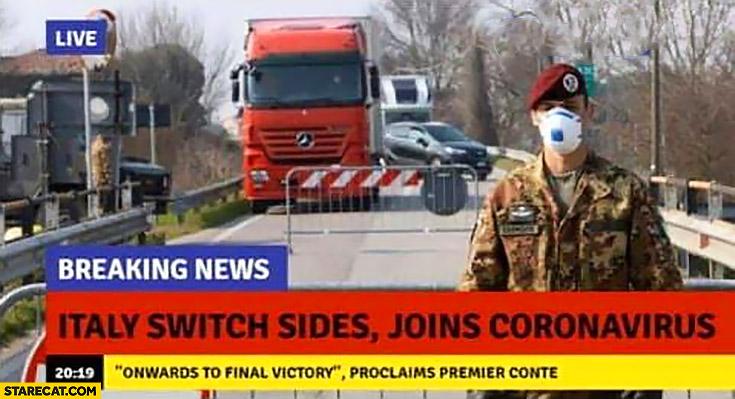 Corona virus Italy switch sides joins coronavirus breaking news