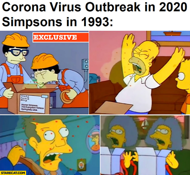 Corona virus outbreak in 2020, Simpsons in 1993 showed pictured preditced this happening