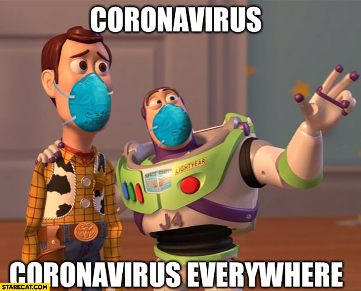 Coronavirus corona virus everywhere Toy Story characters wearing facemasks