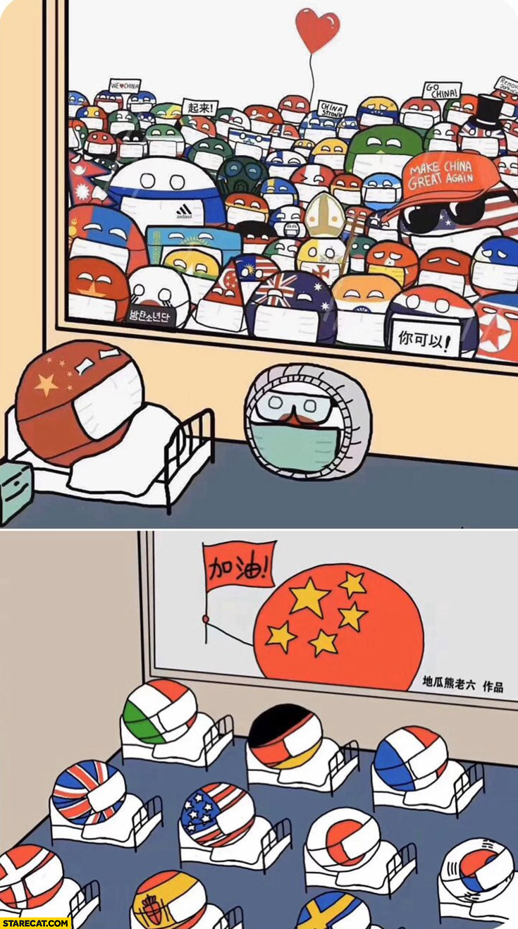Coronavirus countries cheering China then China cheering countries polandball drawing