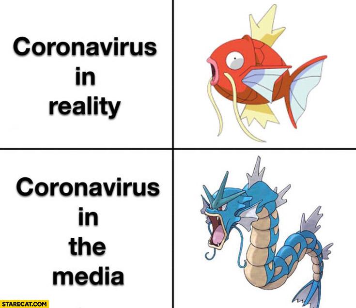 Coronavirus in reality vs in the media Pokemons