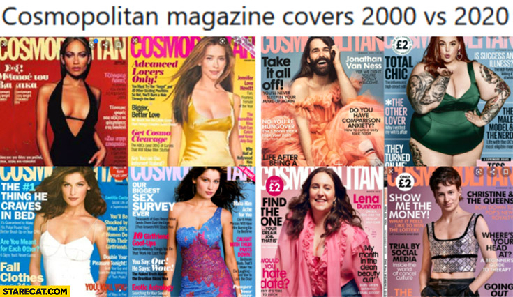 Cosmopolitan magazine covers 2000 vs 2020 comparison