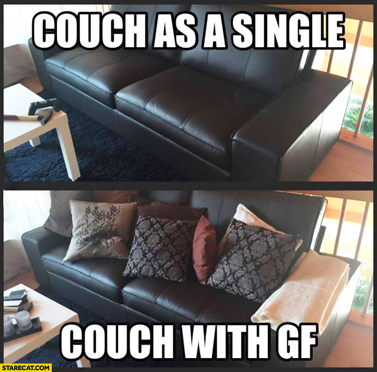 Couch as a single couch with girlfriend gf