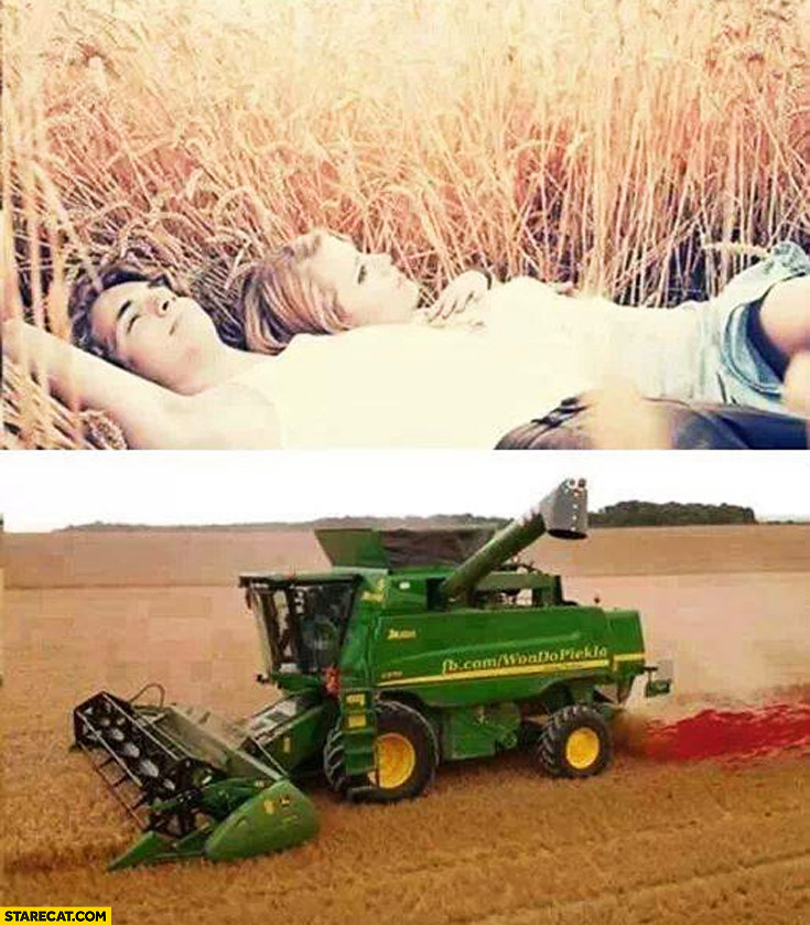 Couple in love laying on field combine harvester