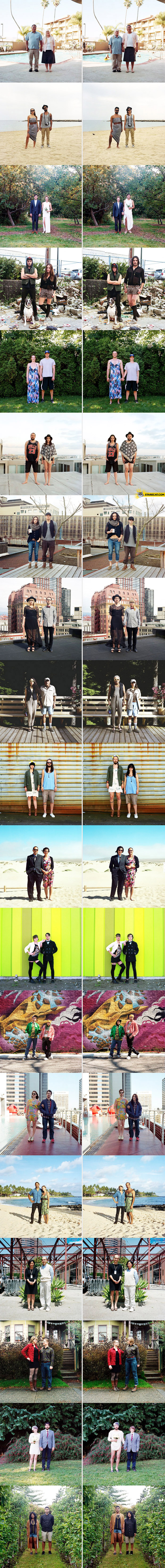 Couples switch clothes