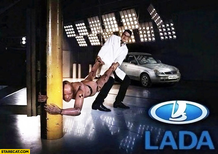 Crash test dummy doesn't want to test LADA car