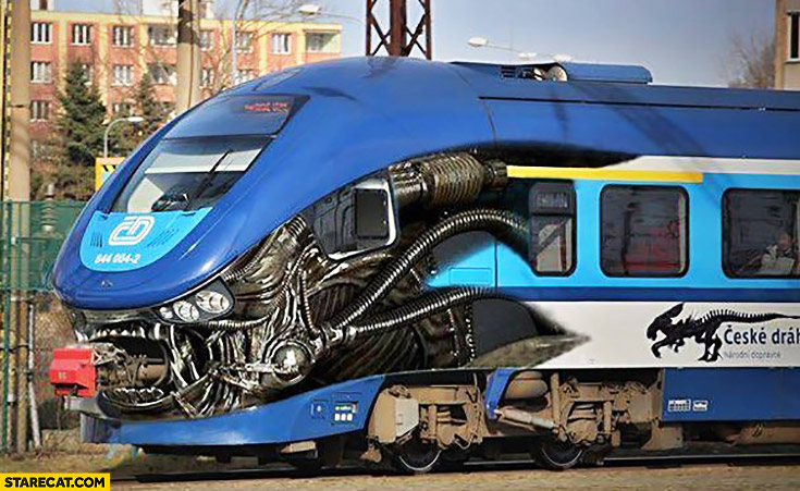 Creative Alien predator train painting in Czech Republic