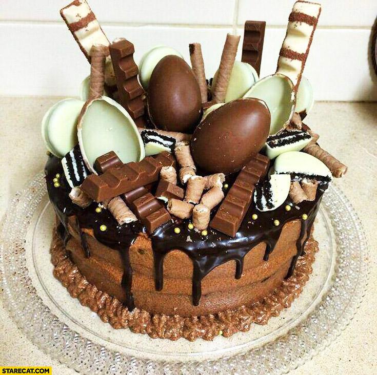 Creative cake made of Kinder suprise chocolate