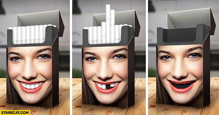 Creative cigarettes packaging cigarettes as teeth