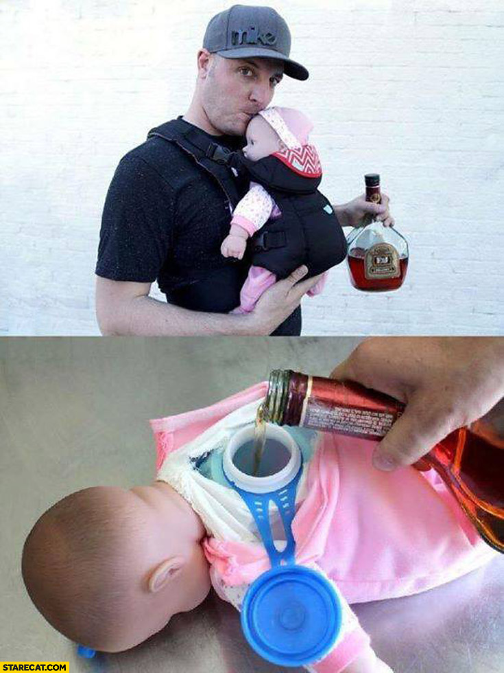 Creative drinking idea carrying baby with alcohol inside