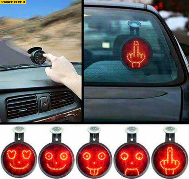 Creative gadget to show emotions on back of a car emoticons middle finger