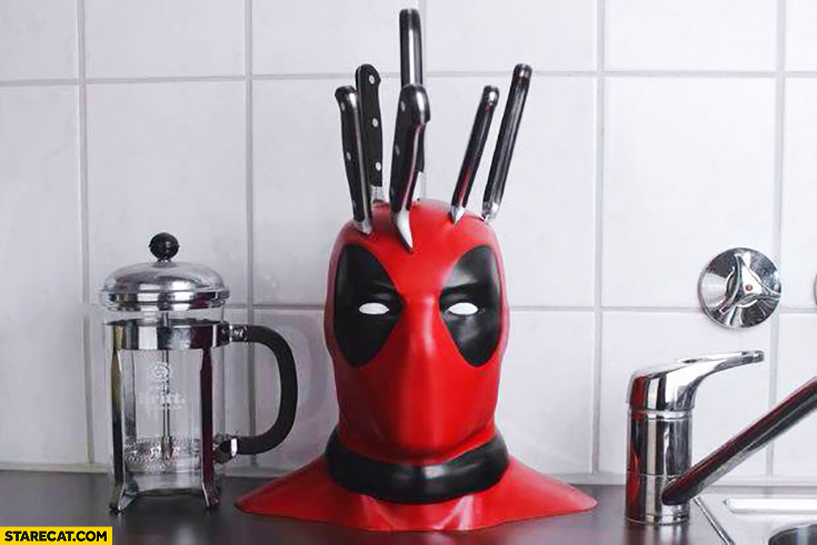 Creative kitchen knives set block stand holder Deadpool's head