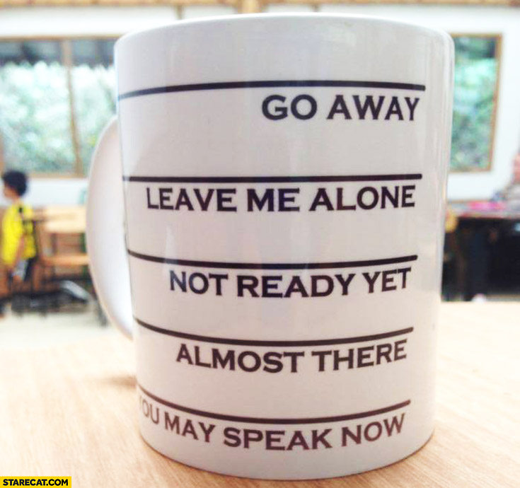 Creative mug: go away, leave me alone, not ready yet, almost there, you may speak now
