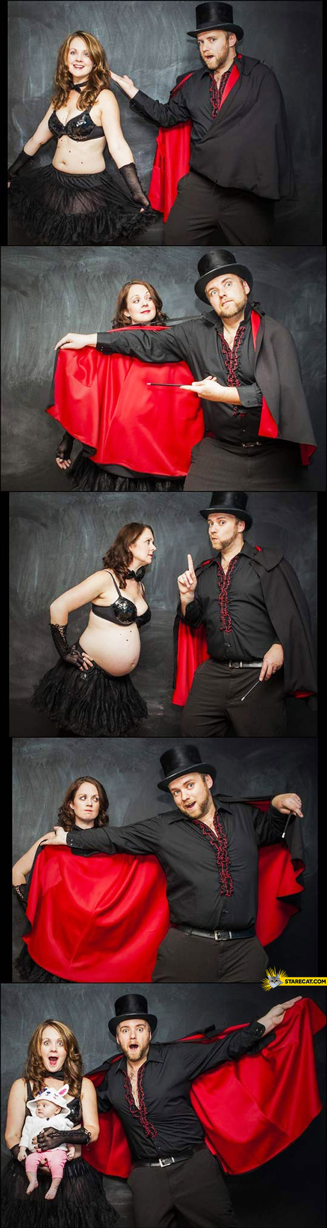 Creative pregnancy photo session magician