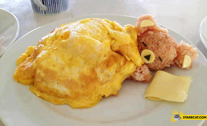 Creative scrambled eggs sleeping teddy