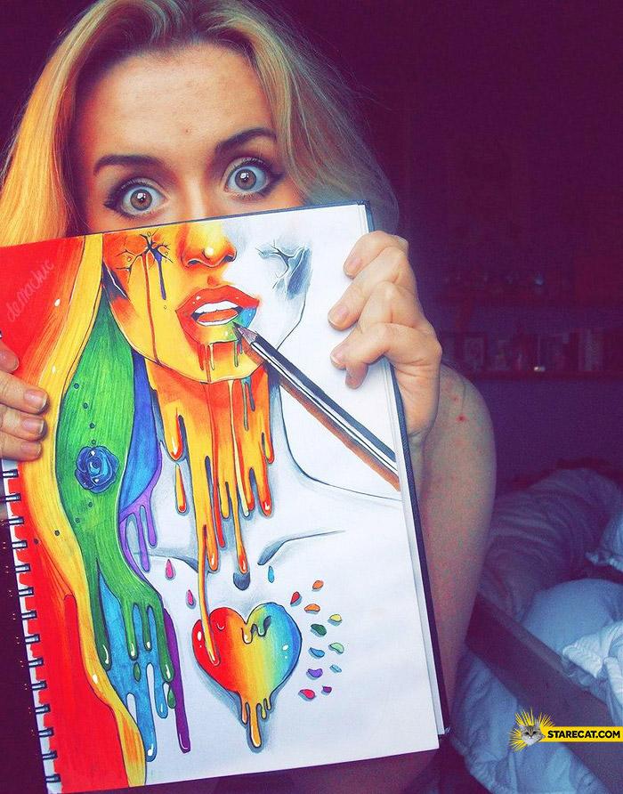 Creative self portrait colorful girl