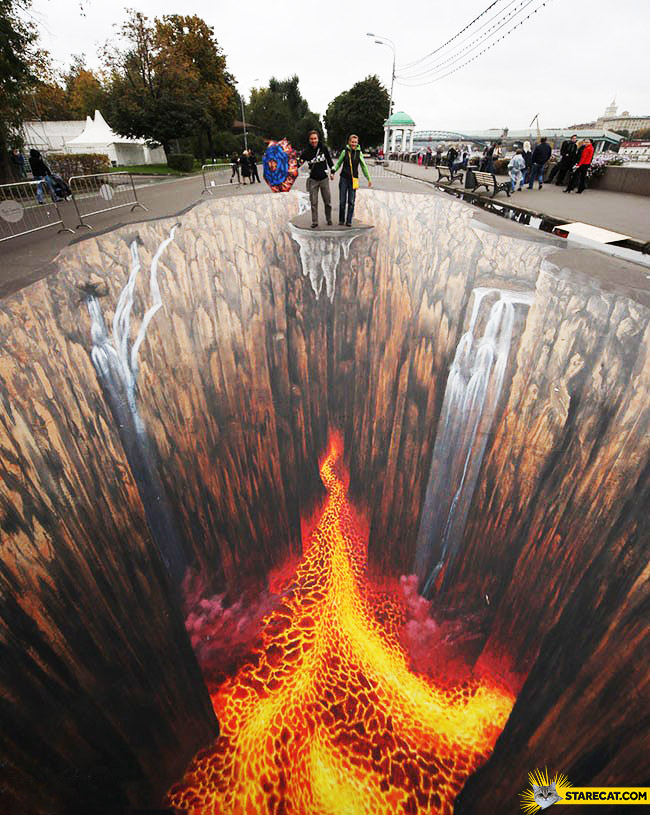 Creative street art lava on a road