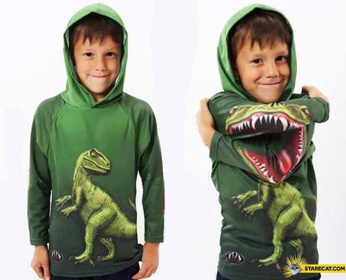 Creative T-rex hoodie for kids