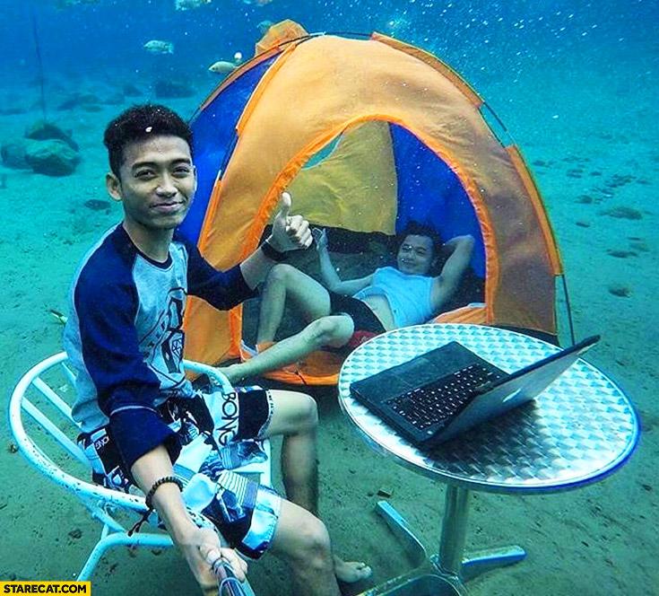 Creative underwater camping photo tent laptop happy guys