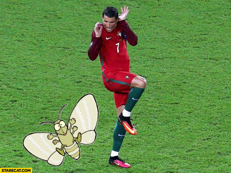 Cristiano Ronaldo affraid of moth photoshopped